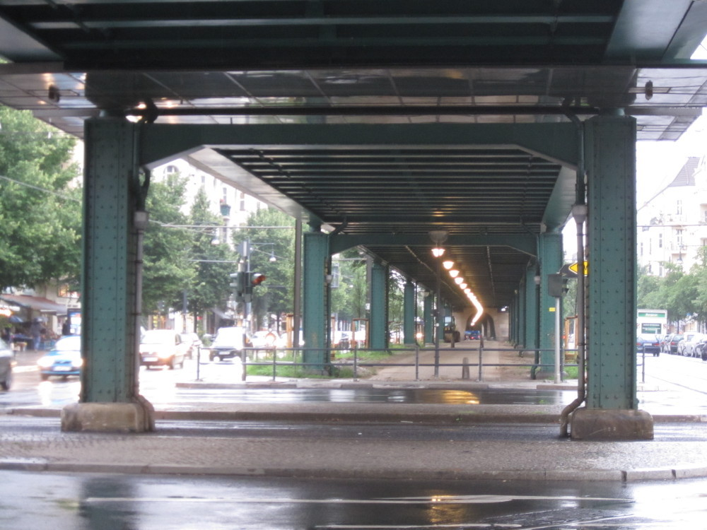 Under the U-Bahn in a rainy day