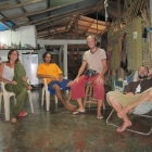 With Raquel, Iván and Hugo at the hostel (under the rain)