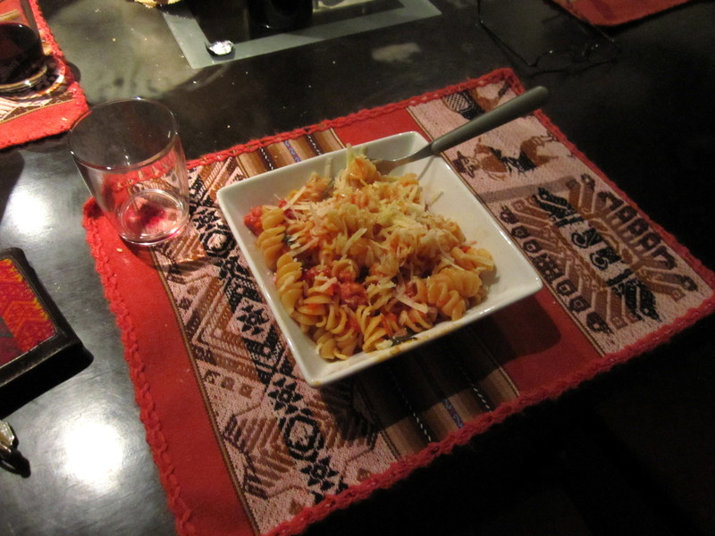 Pasta prepared by Tala in Lima. It was about time!