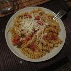 Fusilli porri-pomodoro-peperoni. Got my pasta fix