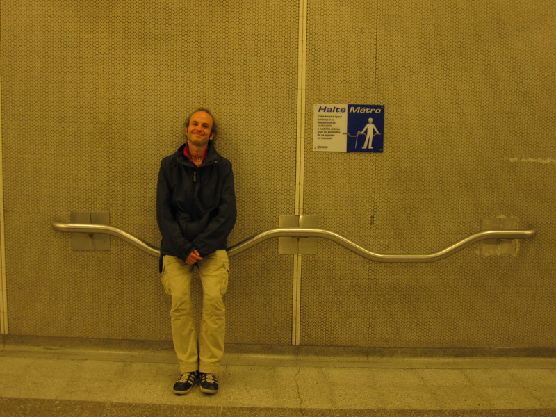 The elderly resting in the metro tunnel