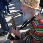 Mont Royal park—Hippie sax player