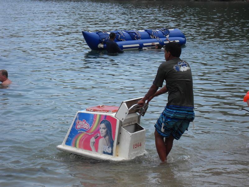 Floating ice cream in playa grande