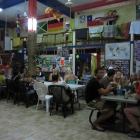 My hostel in Playa: to the left the Israeli table, to the right the German table