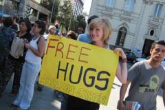 Free hugs in Santiago
