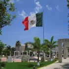Giant Mexican flag in front of the Town Hall